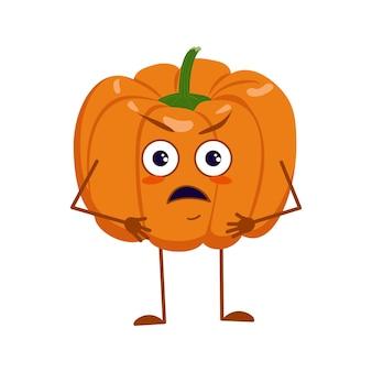Leuke pompoenkarakters met boze emoties, gezicht, armen en benen. de grappige of knorrige held, oranje herfstgroente. vector platte halloween
