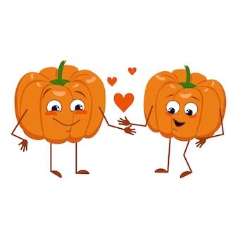 Leuke pompoenkarakters met liefdeemoties, gezicht, armen en benen. de grappige of vrolijke helden, oranje herfstgroente. vector platte halloween decoraties.