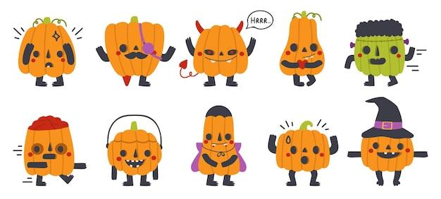Leuke pompoenmascottes. halloween-feest grappige pompoenen met verschillende gezichten geïsoleerde vector symbolen set. gelukkige halloween-pompoenkarakters. illustratie mascotte pompoen, halloween stripfiguur