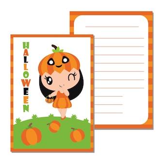 Leuke pompoenmeisjes op kleurrijke pompoenkaders vector cartoon illustratie voor halloween cadeau tag ontwerp, label set en kid sticker set design
