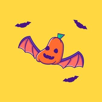 Leuke pompoenvleermuis happy halloween cartoon illustraties
