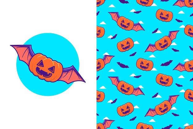 Leuke pompoenvleermuis happy halloween met naadloos patroon