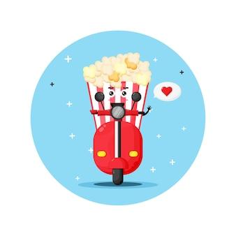 Leuke popcorn die klassieke motor berijdt