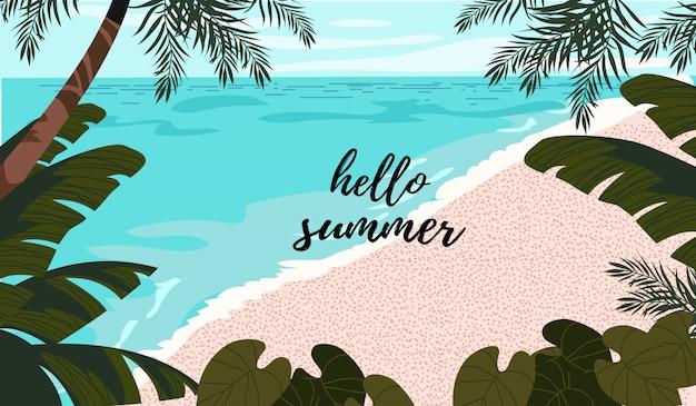 Leuke poster, kaart of dekking met een illustratie van een blauwe zee, een wit zand en tropische bomen en bladeren.