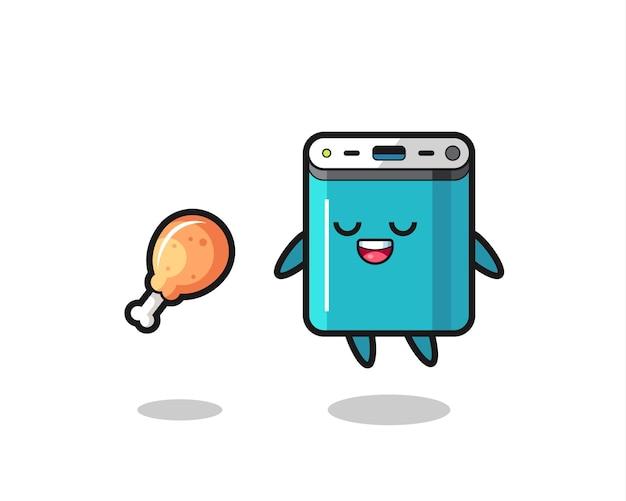 Leuke powerbank drijvend en verleid vanwege gebakken kip, schattig stijlontwerp voor t-shirt, sticker, logo-element