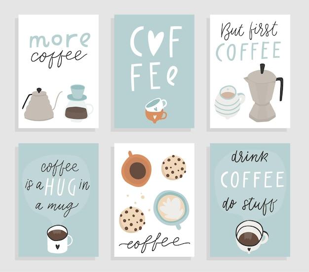 Leuke premade posters kaarten wallpapers banners sjabloonontwerp met koffie