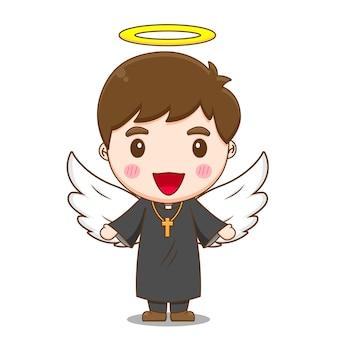 Leuke priester als een engel met aureool op zijn hoofdbord