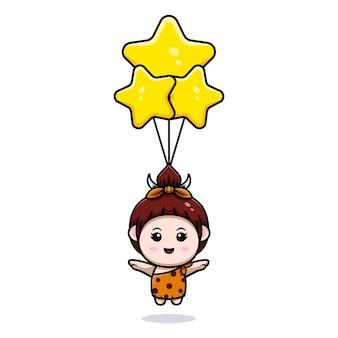 Leuke primitieve cavegirl die met het pictogramillustratie van de sterballon drijft