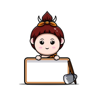 Leuke primitieve cavegirl met lege tekstbordpictogramillustratie