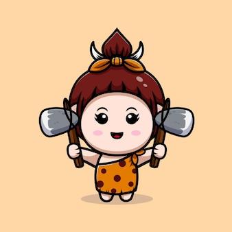 Leuke primitieve cavegirl met stenen bijl pictogram illustratie Premium Vector