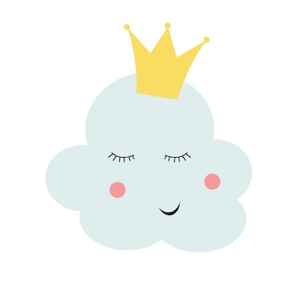 Leuke prinseswolk in gouden kroon