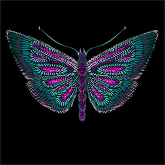 Leuke print stijl vlinder achtergrond.