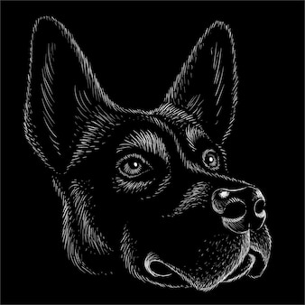 Leuke printstijl hond of wolf achtergrond.