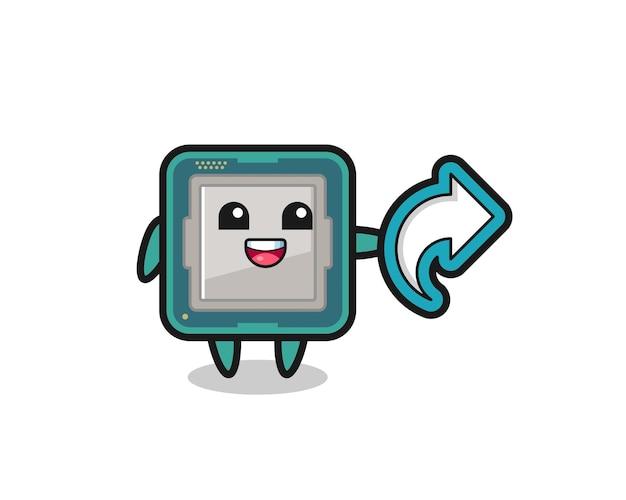 Leuke processor houdt het symbool voor het delen van sociale media vast, schattig stijlontwerp voor t-shirt, sticker, logo-element