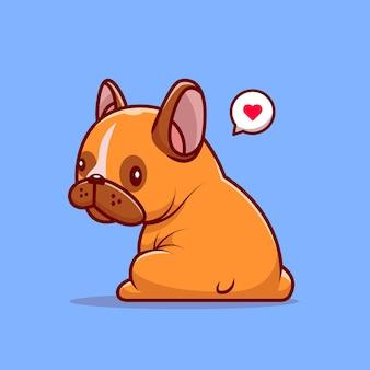 Leuke pug dog zittend op blauw