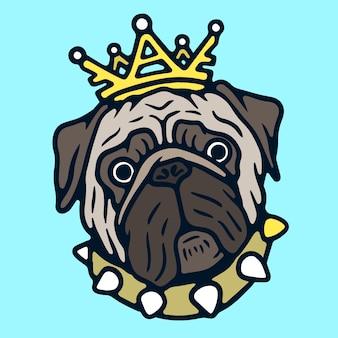 Leuke pug in een vector van de tatoegering van de kroon oude school