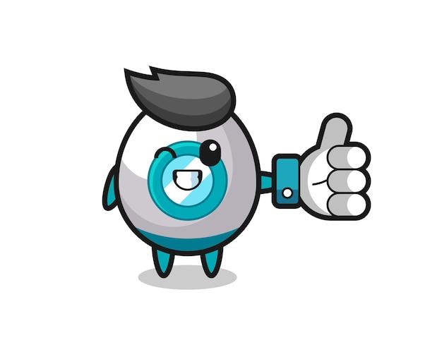 Leuke raket met symbool voor sociale media duimen omhoog, schattig stijlontwerp voor t-shirt, sticker, logo-element
