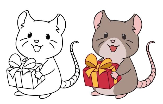 Leuke rat met kerstmuts geeft een cadeau. contour en gekleurde afbeeldingen. hand getrokken vectorillustratie.