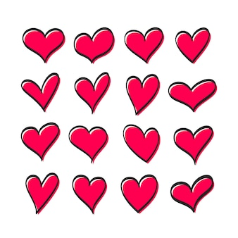 Leuke reeks harten van rode geïsoleerde kleur van verschillende vormen