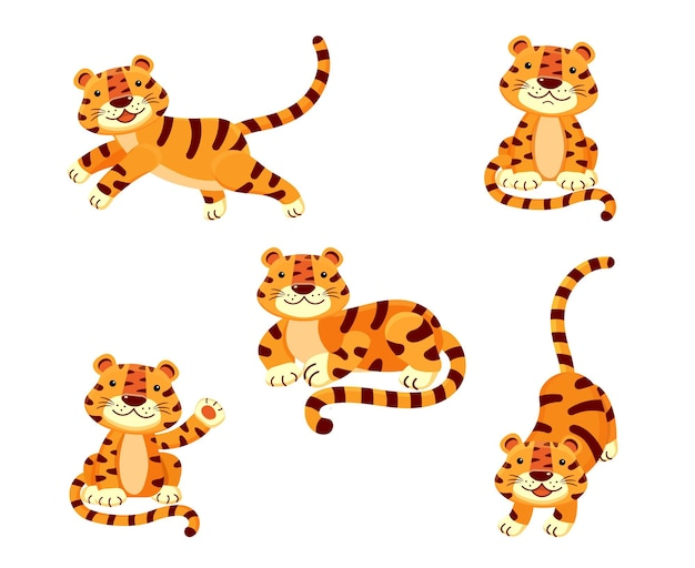 Leuke reeks illustraties van een tijger in verschillende poses geïsoleerd op een witte achtergrond