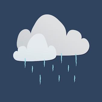 Leuke regenachtige wolk sticker, afdrukbare weer clipart vector