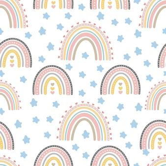 Leuke regenboog naadloze patronen creatieve kinderachtige print voor textielbehang kleding voor het inpakken van textiel