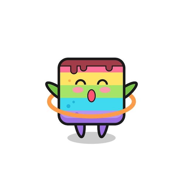 Leuke regenboogcake-cartoon speelt hoelahoep, schattig stijlontwerp voor t-shirt, sticker, logo-element