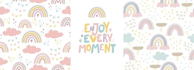 Leuke regenboogpatronen en belettering geniet van elk moment creatieve kinderachtige print voor stof