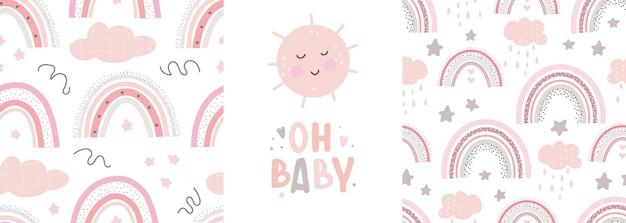 Leuke regenboogpatronen en belettering oh baby creatieve kinderachtige print voor stoffen inpaktextiel