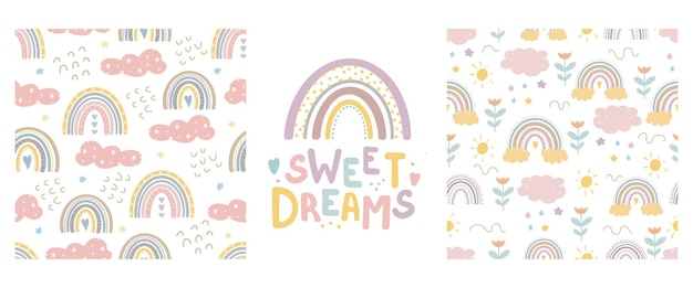 Leuke regenboogpatronen en belettering - zoete dromen