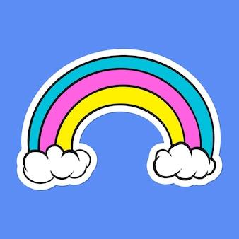 Leuke regenboogsticker met een witte rand op een blauwe achtergrond