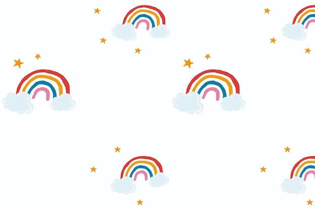Leuke regenboogvector op witte achtergrond, schattige handgetekende stijl