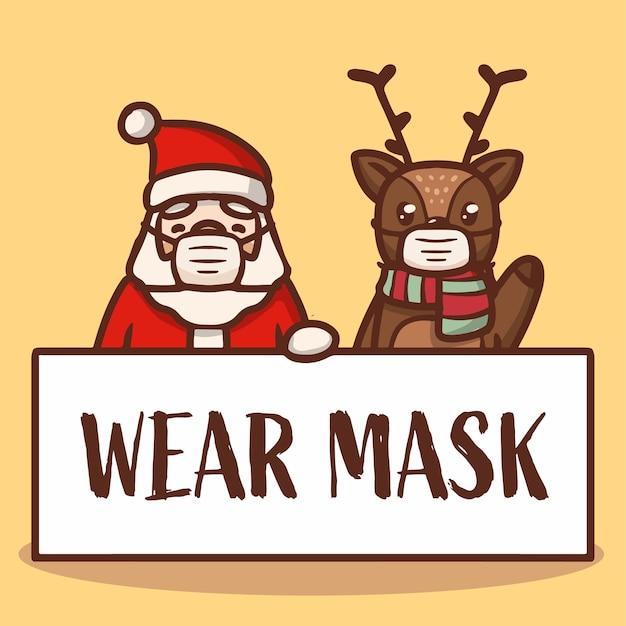 Leuke rendier- en kerstman met bannercampagne met masker