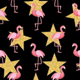Leuke retro naadloze flamingo patroon achtergrond vectorillustratie eps10