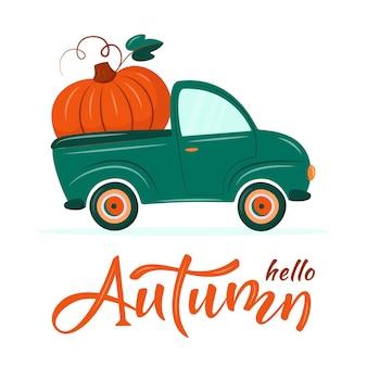 Leuke retro wagen die enorme pompoen levert. hallo herfst. oogst of thanksgiving concept. val vectorillustratie in platte cartoon stijl.