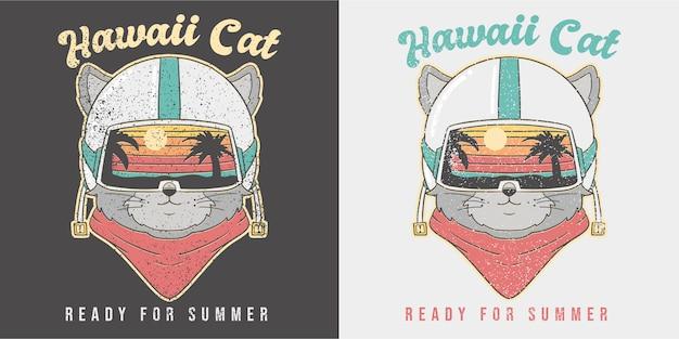 Leuke retro zomer kat illustratie.