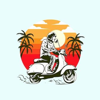 Leuke rit op een scooter