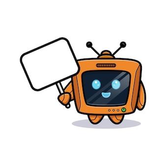 Leuke robot die leeg tekstbord, televisiekarakterversie houdt