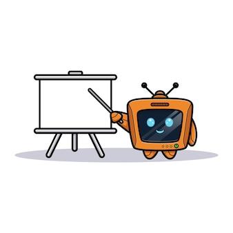 Leuke robot met presentatiebord, televisiekarakterversie