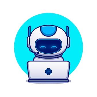 Leuke robot operationele laptop cartoon pictogram illustratie. wetenschap technologie pictogram concept geïsoleerd. platte cartoon stijl