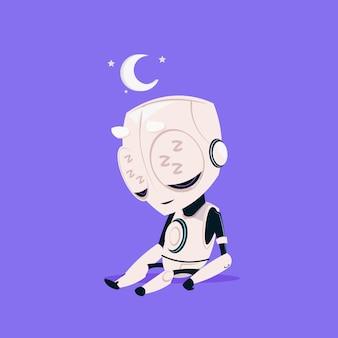 Leuke robot slaap geïsoleerd pictogram op blauwe achtergrond moderne technologie kunstmatige intelligentie concept