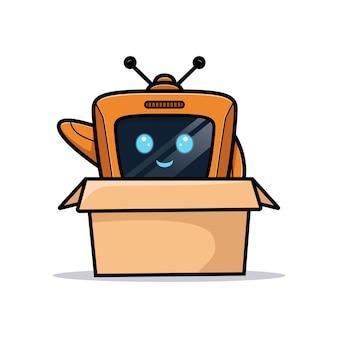 Leuke robot zwaaiende hand in doos, televisiekarakterversie