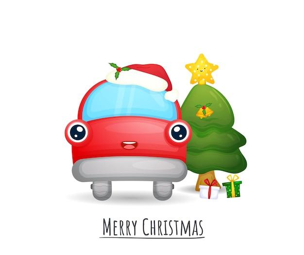 Leuke rode auto met kerstmuts voor vrolijke kerstillustratieset premium vector