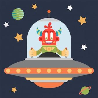 Leuke rode martian binnen een buitensporig ruimteschip