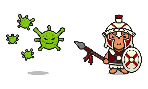 Leuke romeinse ridder strijd virus cartoon vector pictogram illustratie. ontwerp geïsoleerd op wit. platte cartoonstijl.