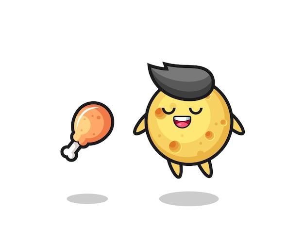 Leuke ronde kaas drijft en verleid vanwege gebakken kip, schattig stijlontwerp voor t-shirt, sticker, logo-element