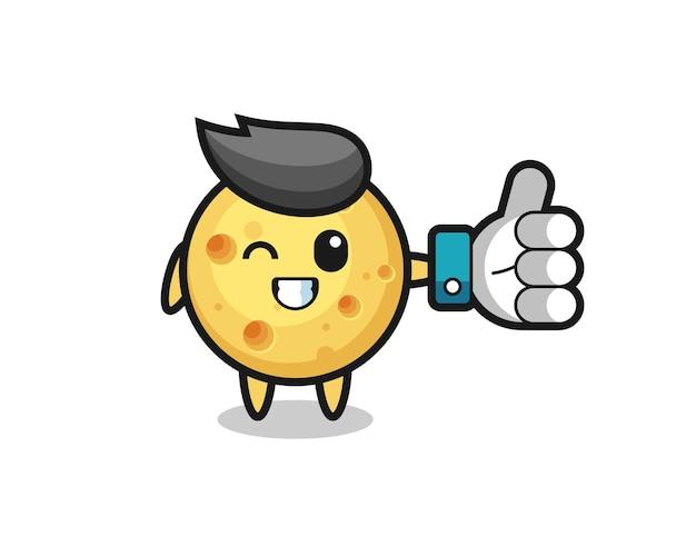 Leuke ronde kaas met social media thumbs up symbool, schattig stijlontwerp voor t-shirt, sticker, logo-element