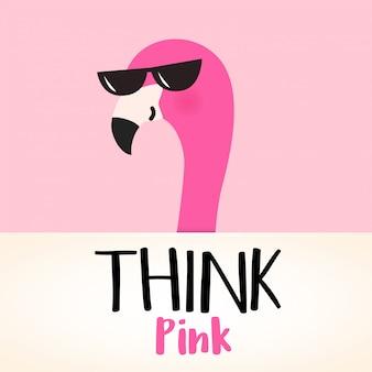 Leuke roze cartoonflamingo met citaat