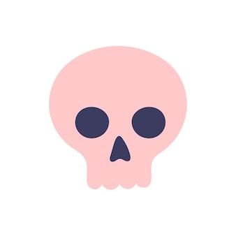 Leuke roze eenvoudige schedel op een witte achtergrond. attributen voor magie en hekserij. hand getekende vector geïsoleerde enkele illustratie.