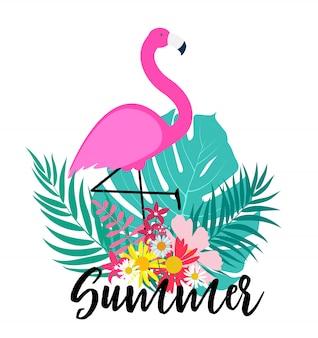 Leuke roze flamingo zomer achtergrond